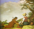 Oil painting reproduction of Shepherd And Shepherdess