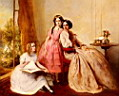 Oil painting reproduction of A Portrait Of Two Girls With Their Governess