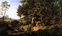 Oil painting reproduction of Bridal Procession In A Spring Landscape