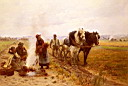 Oil painting reproduction of Plowing The Fields