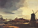 Oil painting reproduction of Landscape With Windmill