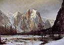 Oil painting reproduction of Cathedral Rock, Yosemite Valley, California 1872