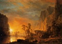 Oil painting reproduction of Sunset in the Rockies 1866