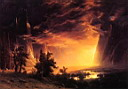 Oil painting reproduction of Sunset in the Yosemite Valley 1869
