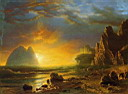 Oil painting reproduction of Sunset on the Coast 1866