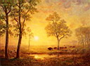 Oil painting reproduction of Sunset on the Mountain