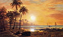 Oil painting reproduction of Tropical Landscape with Fishing Boats in Bay