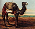 Oil painting reproduction of A Bedouin And A Camel Resting In A Desert Landscape