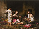 Oil painting reproduction of The Flower Girls