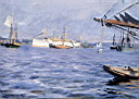 Oil painting reproduction of The Battleship baltimore In Stockholm Harbor