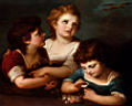 Oil painting reproduction of Children With A Birds Nest And Flowers