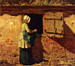 Oil painting reproduction of A Peasant Woman By A Barn