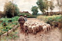 Oil painting reproduction of Bringing Home The Flock