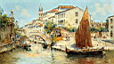 Oil painting reproduction of Venetian Canal Scenes Pic 2